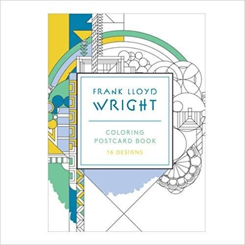 FRANK LLOYD WRIGHT COLORING POSTACARD BOOK . 16 DESIGNS